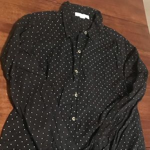 Polka dot button down blouse